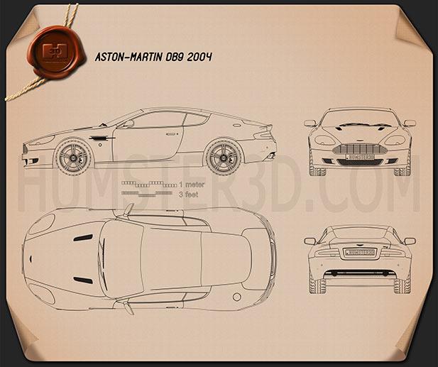 Aston Martin DB9 2004 Blueprint