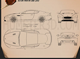 Aston Martin DB9 2013 Blueprint