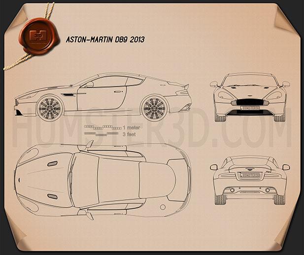Aston Martin DB9 2013 Blueprint
