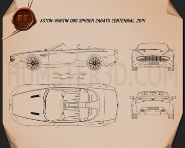 Aston Martin DB9 Spyder Zagato Centennial 2014 Blueprint