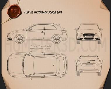 Audi A3 Hatchback 3-door 2013 Blueprint