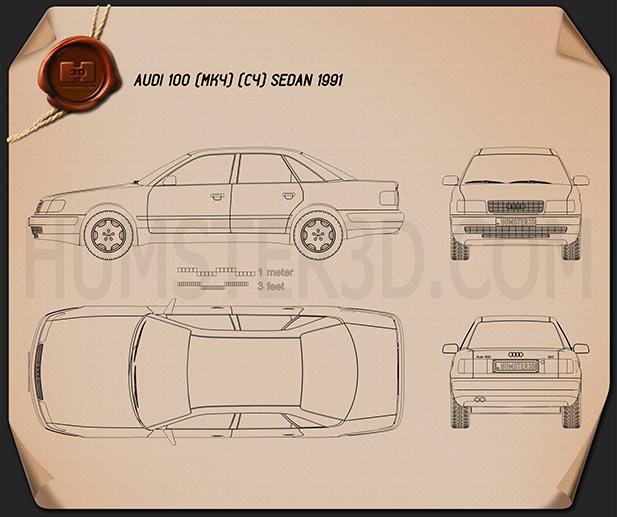 Audi 100 (C4) sedan 1991 Blueprint