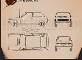 Audi 50 (Typ 86) 1974 Blueprint
