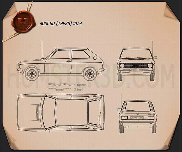 Audi 50 (Typ 86) 1974 Blueprint