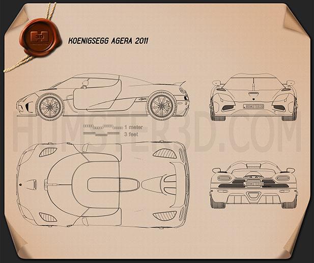 Koenigsegg Agera 2011 Blueprint