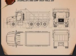 Caterpillar CT660 Dump Truck 4-axle 2011 Blueprint