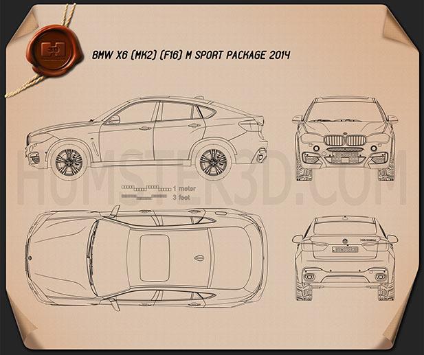 BMW X6 (F16) M sport package 2014 Blueprint