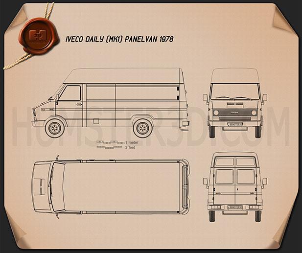 Iveco Daily Panel Van 1978 Blueprint