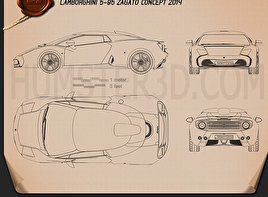 Lamborghini 5-95 Zagato 2014 Blueprint