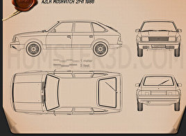 AZLK Moskvitch 2141 Aleko 1986 Blueprint