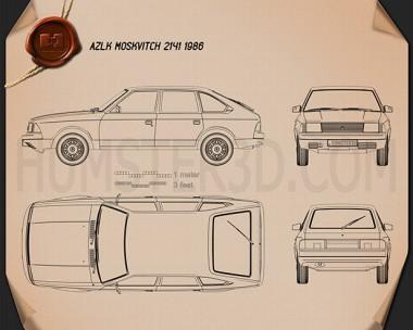 AZLK Moskvitch 2141 Aleko 1986 Blueprint