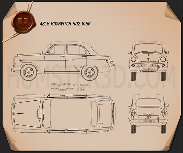 AZLK Moskvitch 402 1956 Blueprint