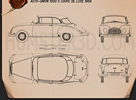 Auto Union 1000 S coupe de Luxe 1959 Blueprint