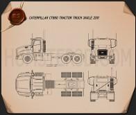 Caterpillar CT660 Tractor Truck 2011 Blueprint