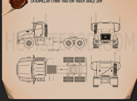 Caterpillar CT660 Tractor Truck 2011 Blueprint