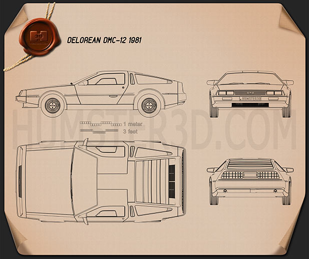 DeLorean DMC-12 1981 Blueprint