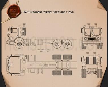 Mack Terrapro Chassis Truck 2007 Blueprint