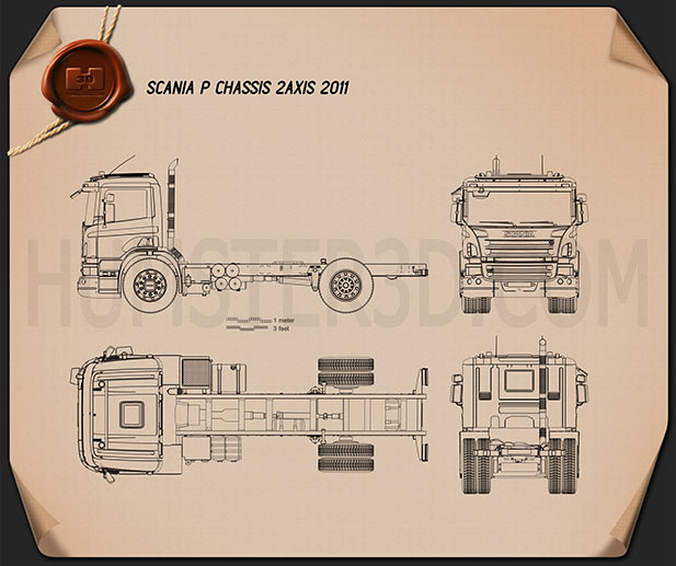 Scania P Chassis 2011 Blueprint