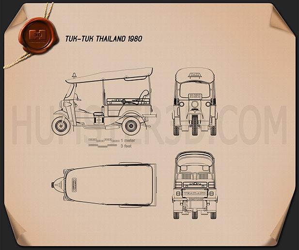 Tuk-Tuk Thailand 1980 Blueprint