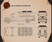 Willys Jeepney Philippines 2012 Blueprint 3d model