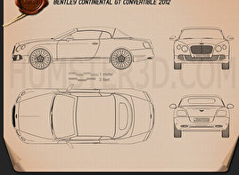 Bentley Continental GT Convertible 2012 Blueprint