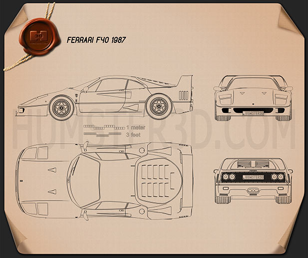 Ferrari F40 1987 Blueprint