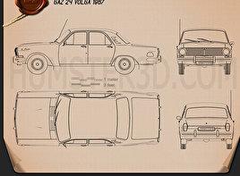 GAZ 24 Volga 1967 Blueprint