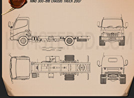 Hino 300-616 Chassis Truck 2007 Blueprint