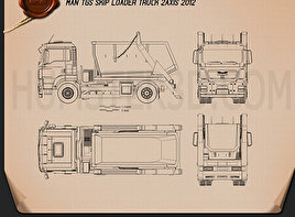 MAN TGS Skip Loader Truck 2012 Blueprint