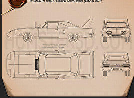 Muscle car blueprint 3D Models Download - Hum3D