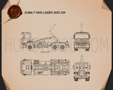 Scania P Hook Loader 2011 Blueprint