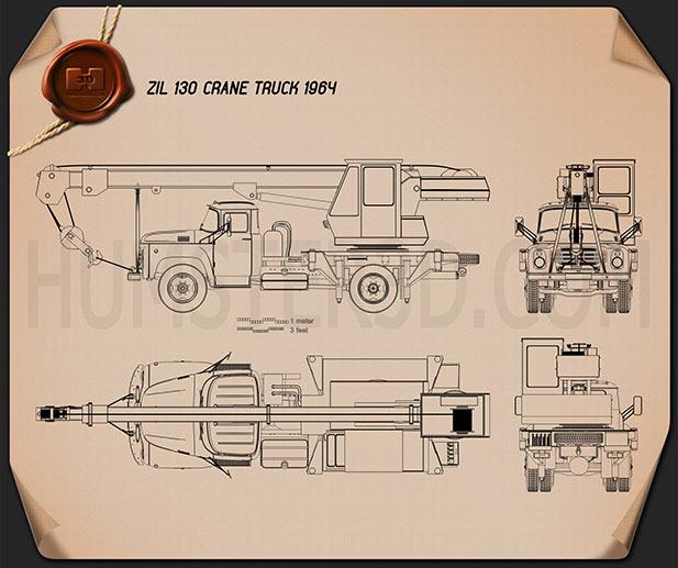 ZIL 130 Crane Truck 1964 Blueprint