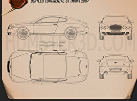 Bentley Continental GT 2007 Blueprint