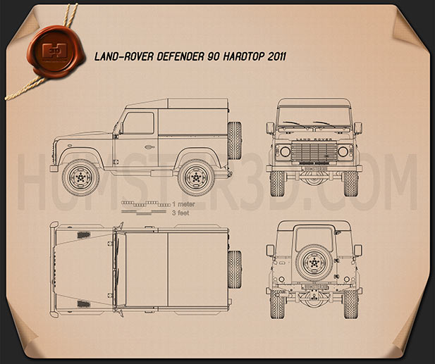 Land Rover Defender 90 hardtop 2011 Blueprint