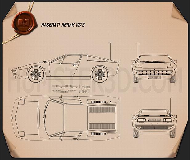 Maserati Merak 1972 Blueprint