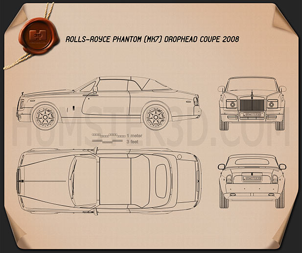 Rolls-Royce Phantom Drophead Coupe 2008 Blueprint