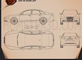 Audi A6 (C6) sedan 2011 Blueprint
