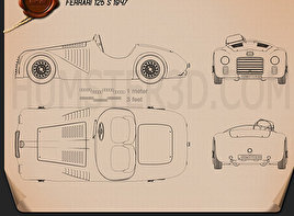 Ferrari 125 S 1947 Blueprint