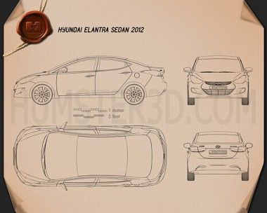 Hyundai Elantra (i35) Sedan 2012 Blueprint