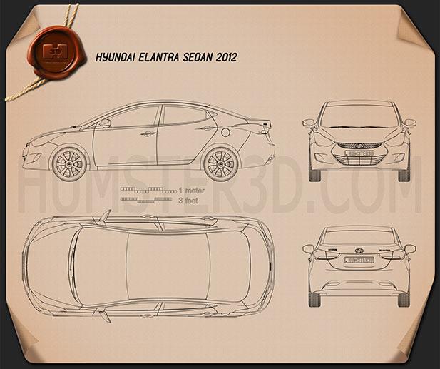 Hyundai Elantra (i35) sedan 2012 Blueprint