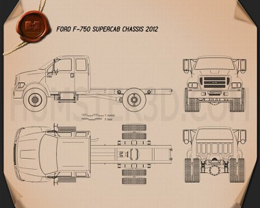 Ford F-750 Super Cab Chassis 2012 Blueprint