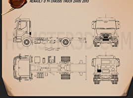 Renault D 14 Chassis Truck 2013 Blueprint