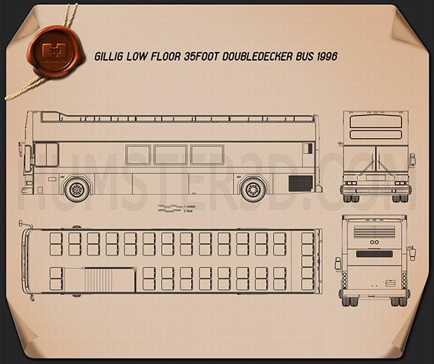 Gillig Low Floor Double-Decker Bus 2012 Blueprint