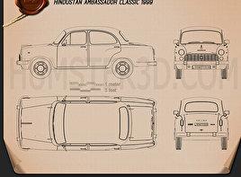 Hindustan Ambassador Classic 1999 Blueprint