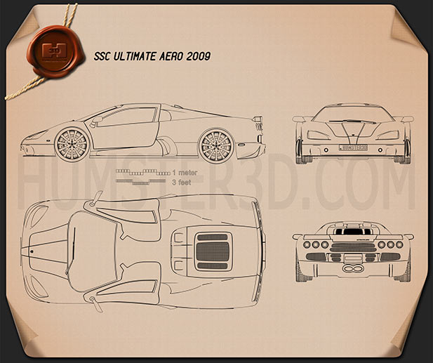 SSC Ultimate Aero 2009 Blueprint