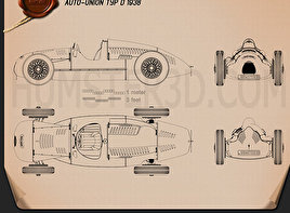 Auto Union Type D 1938 Blueprint