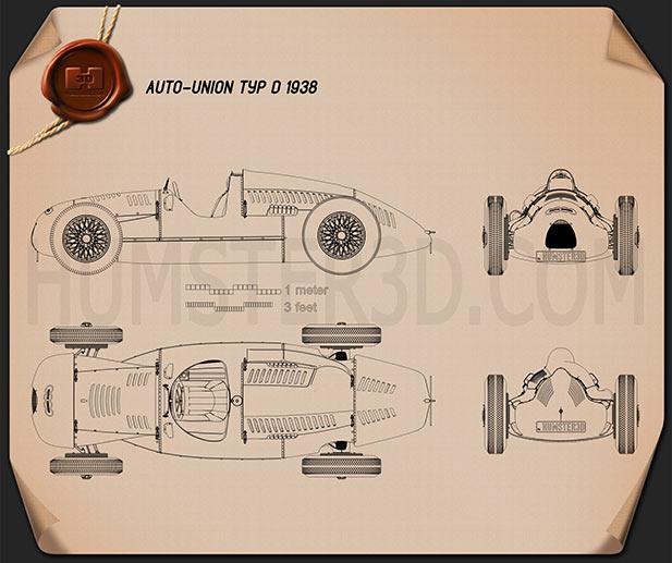Auto Union Type D 1938 Blueprint