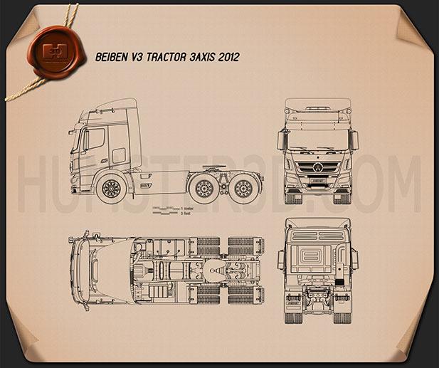 Beiben V3 Tractor 2012 Blueprint