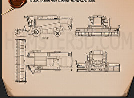 Claas Lexion 480 Combine Harvester 1996 Blueprint