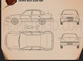 Daewoo Nexia Sedan 1996 Blueprint